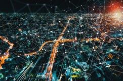 数字式与大阪市,日本的技术圈子 免版税库存图片