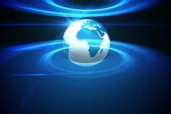 数字式与蓝色光的引起的地球 免版税库存图片