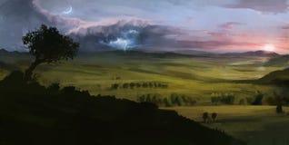 数字式与雷日落和月亮的被绘的风景 免版税库存图片