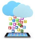 数字式与app图标的片剂个人计算机 库存图片