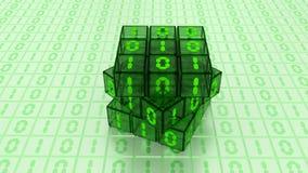 数字式二进制不可思议的立方体箱子在绿色玻璃白色背景中 库存照片
