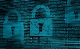 数字式互联网安全,被乱砍的系统的背景概念 向量例证