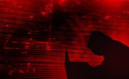 数字式互联网安全,被乱砍的系统的背景概念 库存图片