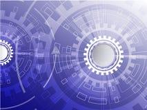 数字式企业背景、传染媒介技术圈子和技术背景 与各种各样的技术的蓝色抽象技术背景 库存照片
