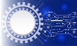数字式企业背景、传染媒介技术圈子和技术背景 与各种各样的技术的蓝色抽象技术背景 免版税库存图片