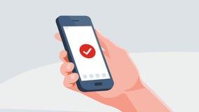 数字式传染媒介智能手机 拿着电话例证的手 聊天或送邮件的人 免版税库存图片