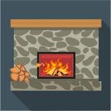 数字式传染媒介有灼烧的木头的壁炉室 图库摄影