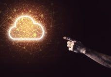 数字式作为无线连接的标志的云彩象在黑暗后面的 库存照片