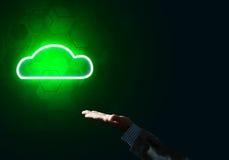 数字式作为无线连接的标志的云彩象在黑暗后面的 免版税图库摄影