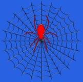 数字式例证 昆虫 在它的网的一只巨型蜘蛛 库存照片