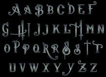 数字式剪贴薄字母表Steampunk背后出击 免版税库存照片