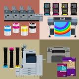 数字式印刷品机器集合 免版税库存图片