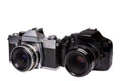 数字式和影片照相机与透镜从 免版税库存图片