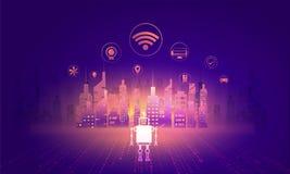 数字式和聪明的城市, sk的例证的技术概念 库存例证