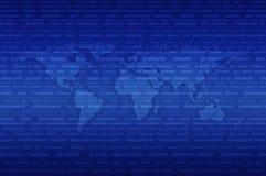 数字式在二进制编码蓝色背景的世界地图 免版税库存图片