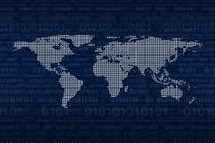 数字式在二进制编码蓝色背景,元素的世界地图  库存图片