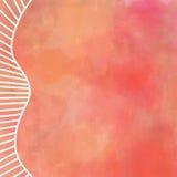 数字式在橙红和黄色的温暖的秋天颜色的水彩绘画与白色边界设计直接和弯曲的线 免版税库存图片