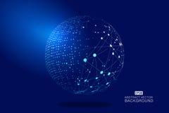 数字式地球和虚线链接发光的地球科学技术背景,蓝色技术作用传染媒介元素 向量例证