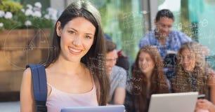 数字式女性大学生的引起的图象由各种各样的算术惯例的与backgro的朋友 库存照片
