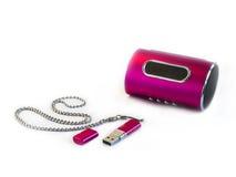 数字式媒体播放器和USB闪光驱动器 免版税库存图片