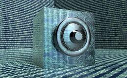 数字式安全概念挂锁在电子环境里 库存照片