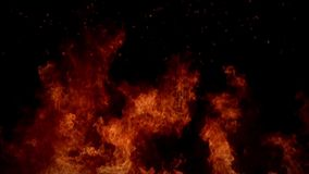 数字式完全发火焰在黑背景移动的动画的圈 股票视频