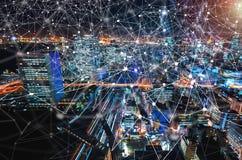 数字式技术圈子有东京,日本鸟瞰图  图库摄影