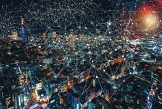 数字式技术Cirlcle有东京,日本鸟瞰图  库存照片