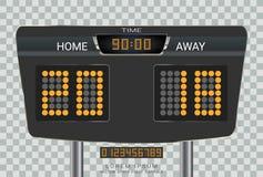 数字式时间记分牌,足球比赛队A对队B,战略广播图表模板 向量例证
