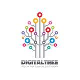 数字式树-导航商标标志模板在平的样式的概念例证 计算机网络技术标志 电子的设计 免版税库存图片