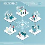 数字式核心:网上医疗保健和医疗服务 库存例证