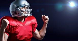 数字式欢呼与握紧拳头的美国橄榄球运动员的引起的图象 免版税图库摄影