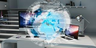 数字式漂浮在办公室3D翻译的行星地球 免版税库存照片