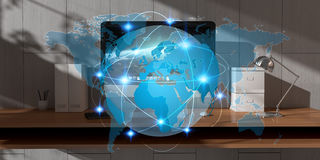 数字式漂浮在办公室3D翻译的行星地球 库存照片