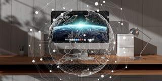 数字式漂浮在办公室3D翻译的行星地球 免版税图库摄影