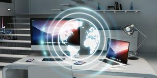 数字式漂浮在办公室3D翻译的行星地球 免版税库存图片