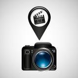 数字式照片照相机拍板影片别针 库存照片
