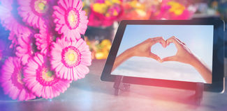数字式片剂的综合图象有桃红色花的 免版税库存照片