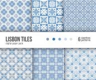 数字式纸组装, 6个葡萄牙地垫样式,蓝色和白色德尔福特瓦片 库存例证