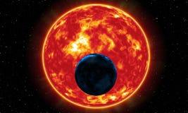 数字式绘画摘要星系背景-在地球或默示录后的硕大太阳 库存例证