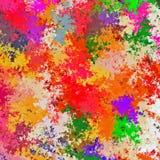 数字式绘画摘要混乱飞溅声油漆在五颜六色的充满活力的明亮的颜色背景中 库存例证