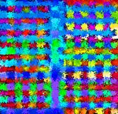 数字式绘画混乱抽象飞溅声刷子油漆在充满活力的生动的五颜六色的淡色背景中 向量例证