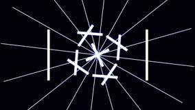 数字式网络城市与线样式的微粒HUD背景与立方体和一刹那光 80s减速火箭的未来主义背景 皇族释放例证