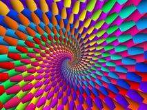 数字式艺术催眠抽象彩虹螺旋背景 库存照片