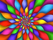 数字式艺术摘要彩虹瓣螺旋背景 免版税库存图片