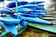 数字式艺术绘画-停放的五颜六色的独木舟 免版税库存图片