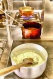 数字式艺术绘画-老铜罐在厨房餐馆 库存图片