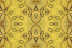 数字式艺术设计无缝的玻璃状黄色花 库存照片