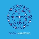 数字式营销例证 平的设计 图库摄影