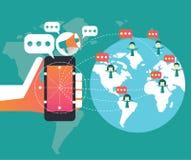 数字式营销和社会网络概念 平的设计元素 免版税库存图片